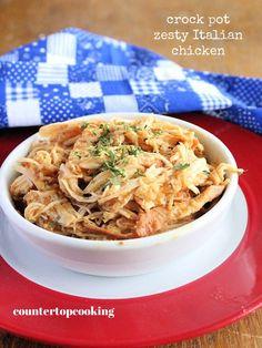 Slow Cooker Zesty Italian Chicken Slow Cooker Chicken Pasta, Stew Chicken Recipe, Chicken Pasta Recipes, Slow Cooker Times, Slow Cooker Recipes, Zesty Italian Chicken, Cooking, Ethnic Recipes, Crock Pot