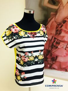 T-shirt with stripes and flowers made in Com-Prensa.  #barcelos #colours#tshirt #cotton #pottery #comprensa #fashion #model #fashion #manufacturer #design #company #textile #portugal #sublimation #screenprinting #digitalprint #laser #photoprint