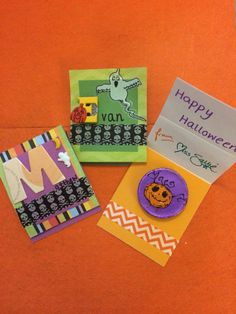 Halloween favors for my pre-schoolers. Matchbook/tri fold using up my scraps of paper & card, Stampin Up washi tape & old Halloween embellishments