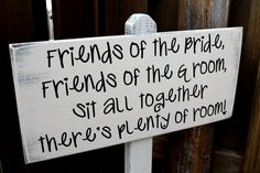 """No Seating Plan / Pick a seat not a side - Wedding Sign Stand - 10"""" x 22"""" on 4ft Stand on Etsy, $45.00"""
