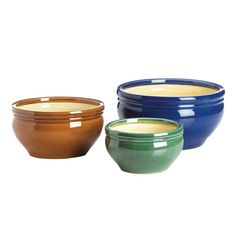 Add a pop of color to your yard or patio with this gorgeous trio of planters. Three varying sizes are perfect for your favorite plants, and the vibrant blue, green and brown finishes will brighten up
