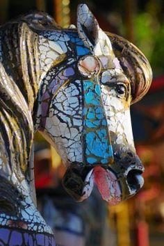 Carousel weathered horse