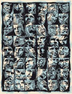 """Dave Faces"" - 19""x25"", 2-color screenprint."