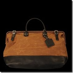 CARRYALL IN SIENNA WAXED COTTON AND BLACK LEATHER