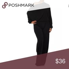 Plus Black Dolman Jumpsuit Off One Shoulder NEW STYLISH * SEXY * FASHIONABLE  You'll LOVE this jumpsuit! Featuring a solid long dolman style sleeve jumpsuit that can be worn multiple ways! Can be worn off the shoulder or on - your choice! Has an open V backside that can be worn in the front or the back! See our listing pictures for some ideas!!! Nice flowly wide cut legs. Made of soft slinky stretchy material. Can easily be dressed up or down. Make this your new favorite go to wardrobe…