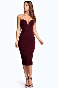 Sammy Plunge Bodycon Midi Dress at boohoo.com