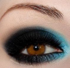 Teal and Black Eyeshadow. What if I did black and grey?