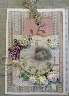 Vintage look brownish pink colour, gesso on flowers, scrapping card