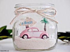 Dorm Decor / VW Beetle VW Bug / Beach Car In A Jar / Beach
