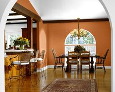 """Sherwin Williams """"Yam"""" - we used this in our basement. Love it. Was a little bright when we painted it, but now that it is dry, it is the perfect burnt orange. Not too brown, not too bright."""