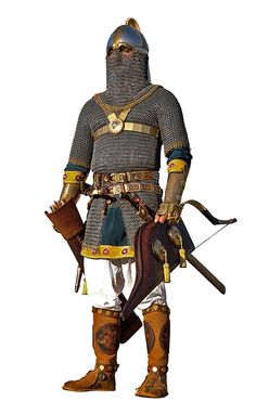 Persian Sassanid to in heavy armour, precursor of the European knights of the Middle Ages. The Sassanids were Zoroastrians like their predecessors' the Achaemenids and the Parthians, who ruled Iran from 500 BC to 600 AD. Armadura Medieval, Ancient Armor, Medieval Armor, Persian Warrior, Grandeur Nature, Sassanid, Armor Clothing, Ancient Persian, Knight Armor
