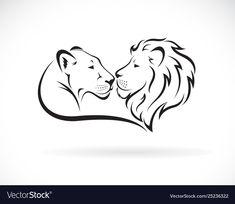 Male lion and female lion design on white background. Lion logo or icon. Lion Tattoo Design, Lion Design, Tattoo Designs, Lioness Images, Logo Lion, Lion And Lioness Tattoo, Tribal Lion Tattoo, Simple Lion Tattoo, Leo Tattoos