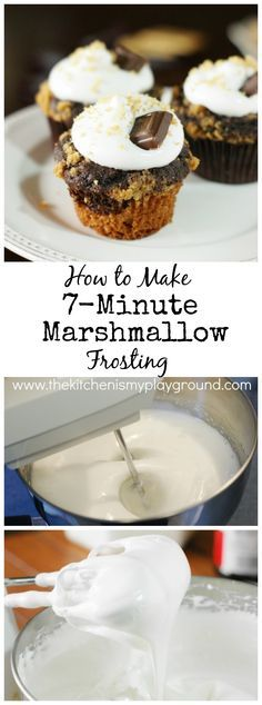 How to Make 7-Minute Marshmallow Frosting {step-by-step}.  Perfect for frosting rich chocolate cakes, S'mores cupcakes, tarts, & other treats!   www.thekitchenismyplayground.com