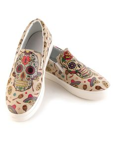 Loving this Beige & Red Sugar Skull Slip-On Sneaker on #zulily! #zulilyfinds