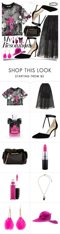 """#PolyPresents: New Year's Resolutions"" by sunny-chen-2 ❤ liked on Polyvore featuring Elie Saab, Juicy Couture, ZAC Zac Posen, MAC Cosmetics, Salvatore Ferragamo, Forever 21, Philip Treacy, Alexis Bittar, contestentry and polyPresents"