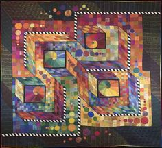 Paradox by Claudia Pfeil . This one won Best Longarm Machine Quilting award. Bright Quilts, Long Arm Quilting Machine, Batik Quilts, Quilt Modernen, Art Textile, Textiles, Contemporary Quilts, Longarm Quilting, Quilting Designs