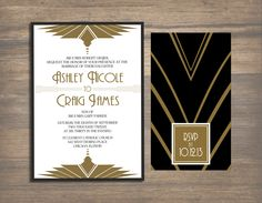 This would be great if I ever get to have a Gatsby party :-) Invitation The Great Gatsby, Great Gatsby Themed Wedding, Great Gatsby Wedding, 1920s Wedding, Our Wedding, Wedding Decor, Wedding Ideas, Art Deco Wedding Invitations, Wedding Stationary