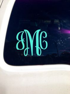 Monogram Car Decal Mint by PCDrDesigns on Etsy