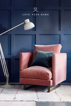 Love Your home - Jemima Armchair upholstered in 'Rose' Mohair Velvet. This gorgeous blush pink mohair velvet works perfectly with the deep blue walls and teal blue 'peacock' mohair. These contrasting colours are one of 2018 biggest interior trends. Blue And Pink Living Room, Teal Living Rooms, Blue Rooms, New Living Room, Living Room Chairs, Dining Chairs, Blue Velvet Chairs, Pink Chairs, Pink Office Decor