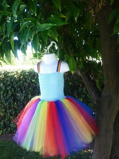 This is what my daughter wants to wear for Halloween. More of an inspired idea for a rainbow dash costume. We will be tweaking it so as not to steal from this creator.   Rainbow Dash Tutu Dress Costume My Little Pony by 2Twos on Etsy