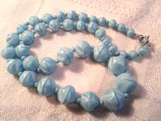 Vintage 50s Blue Satin Glass Bead Necklace. by GothiqueGirl on Etsy