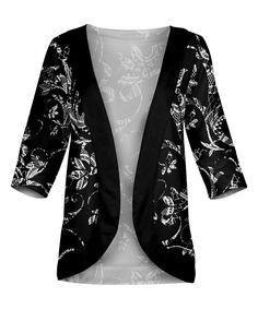 Black & White Floral Cardigan - Plus Too