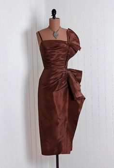 1950's Vintage Ceil Chapman Designer-Couture Sculpted Mocha-Chocolate Brown Silk-Taffeta Asymmetric Pleated-Wing Sleeveless Nipped-Waist Evening Dress