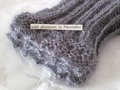 CAROLYN SAXBY TEXTILES - November mittens - picot edge - lacey fingerless mittens knitted with a soft grey angora yarn with silver sparkle Carolyn Saxby, Beast From The East, Pretty Beach, Fingerless Mittens, Art Archive, How To Make Tea, Textile Artists, Pattern Paper, Cotton Linen