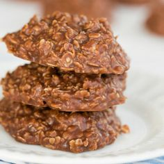 Easy No-Bake Cookie Recipe | Brown Eyed Baker - used dark cocoa  & chunky peanut butter. Washed down sides of pan