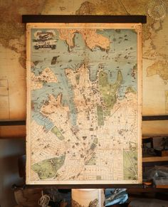 Beautiful large world map 1831 canvas antique wooden iron pirate city plan of sydney in 1922 australia cotton canvas by zmaps gumiabroncs Images