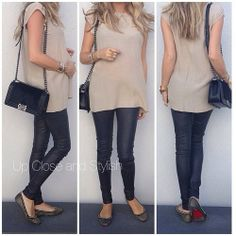 Today - top, leather pants, flats and 'Boy Bag' size medium. And yes, I'm pregnant, 25 weeks along. Stylish Maternity, Maternity Fashion, Stylish Pregnancy, Pregnancy Fashion, Maternity Clothing, Maternity Style, Bump Style, Style Me, Helmut Lang