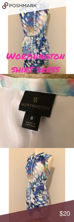 Worthington Sleeveless shirt dress ⚓️HOST PICK 5/21/17 Best in Dresses and skirts by @bellanblue⚓️ Worthington sleeveless shirt dress in a multicolor butterfly wings pattern..EUC..comes with a tie at the waist..white slip underneath..partial button down collar which is about 11 in long with 4 buttons and a snap button at the top..no zipper..about 18 in flat at bust..about 34 in length. 9/4/17 Worthington Dresses