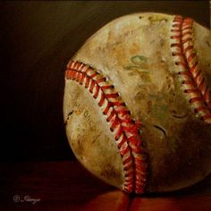official vintage baseball still life oil painting little gems small 5x5 in., painting by artist JEANNE ILLENYE