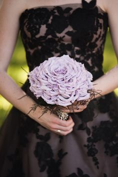 purple bouquet // floral by Natural Beauties Floral, photo by Ashley Biess Photography View more: http://www.ruffledblog.com/parisian-gothic-wedding-inspiration/