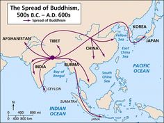 The Spread of Buddhism, 500s B.C - A.D. 600  This map shows how Buddhism spread from India throughout Asia. Buddhism began in northeastern India, the birthplace of Buddha, and from there spread along trade routes. By the first century it had reached China. From there it traveled to Korea and on to Japan around A.D. 600. Buddhism also took hold in Tibet during the 600s. Buddha (c. 563-483 bc)