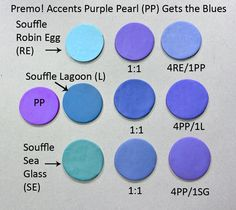 New Color Tuesday (afternoon) - The Blues Pt 2 - Sculpey Polymer Clay Recipe, Polymer Clay Ring, Polymer Clay Tools, Sculpey Clay, Polymer Clay Projects, Polymer Clay Creations, Clay Crafts, Color Mixing Chart, Color Blending
