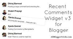 Recent Comments Widget v3 for Blogger