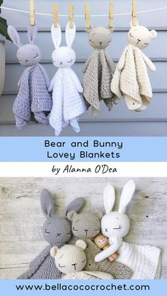 Sleepy Baby Bear and Bunny Lovey by Alanna O Dea - knitting is as easy as . - - Sleepy Baby Bear and Bunny Lovey by Alanna O Dea - knitting is as easy as . Diana Fuchs diandafuchs Stricken anleitungen Sleepy B Crochet Design, Crochet Diy, Crochet Bear, Crochet Patterns Amigurumi, Crochet For Kids, Crochet Crafts, Knitting Patterns, Crochet Animal Patterns, Amigurumi Doll