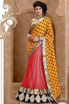 Designer Yellow, Tomato Red Georgette, Net Lehenga Saree