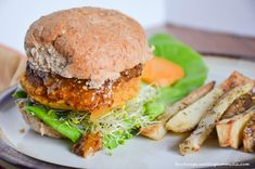 Sweet Potato Chickpea Burger With Apricot Mustard and Rosemary Fries [Vegan, Gluten-Free] | One Green Planet