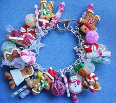 CHRISTMAS Candyland GINGERBREAD Candy Sweets Bracelet - Loaded with TONS of Charms. $47.00, via Etsy.