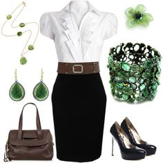 Workwear by ruby222 on Polyvore featuring Donna Karan, Bebe, Jimmy Choo, Fantasy Jewelry Box, Emily Armenta, Pippa Small, Tarina Tarantino, office, green bracelet and professional