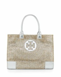 Ella Metallic Straw Tote Bag, Natural/Silver by Tory Burch at Neiman Marcus.