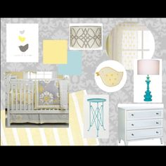 Grey, yellow, turquoise, and white nursery inspiration board - from projectnursery.com