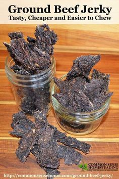 Save money by making your own homemade ground beef jerky. Ground beef jerky is less expensive, easier to make and easier to chew. Venison Jerky Recipe, Homemade Beef Jerky, Hamburger Jerky Recipe Dehydrator, Sausage Jerky Recipe, Keto Jerky Recipe, Jerky Dehydrator, Homemade Kahlua, Bacon Jerky, Food Storage