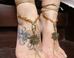 BAREFOOT sandal barefoot sandal brass hippie barefoot sandles VictORiAn element SUMMER sexy anklet jewelry foot thongs bottomless shoes