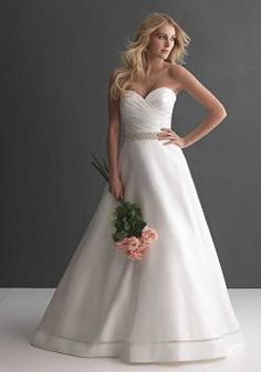 Classic Satin A line Chapel Train Sweetheart Wedding Gowns With Ruching - 1300103581B - US$219.99 - BellasDress