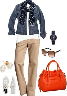 Denim jacket and chinos casual outfits Business Casual Outfits, Classy Outfits, Fall Outfits, Fashion Outfits, Fall Fashion Trends, Autumn Fashion, Khaki Pants Outfit, How To Have Style, Beige Jeans