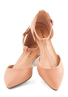 Shell pink t-strap flats - - The Time is Ripe Flat | Mod Retro Vintage Flats | ModCloth.com