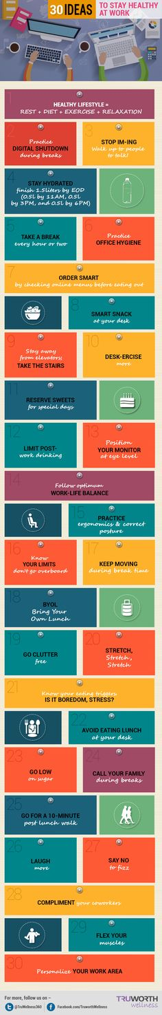 Infographic: 30 Ideas To Stay Healthy At Work - DesignTAXI.com